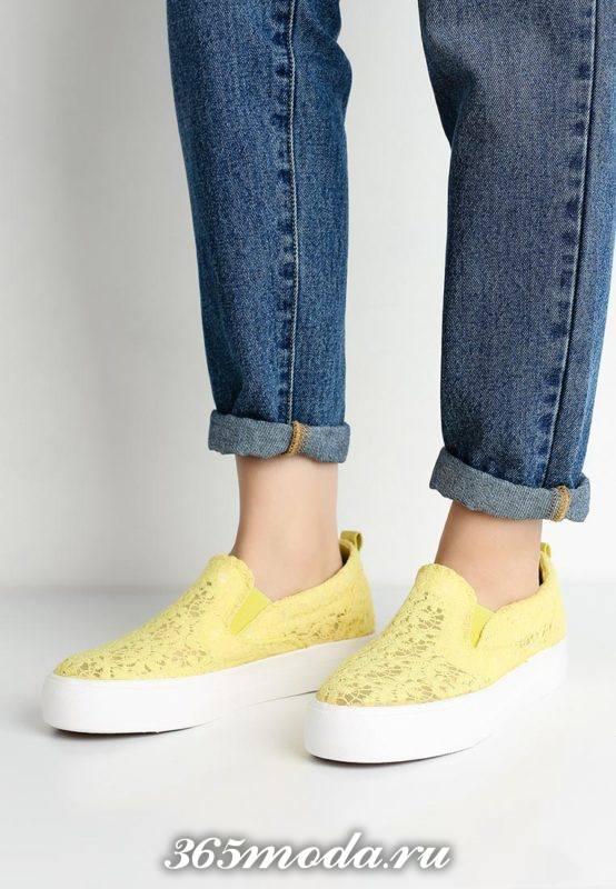 женские кружевные слипоны желтые