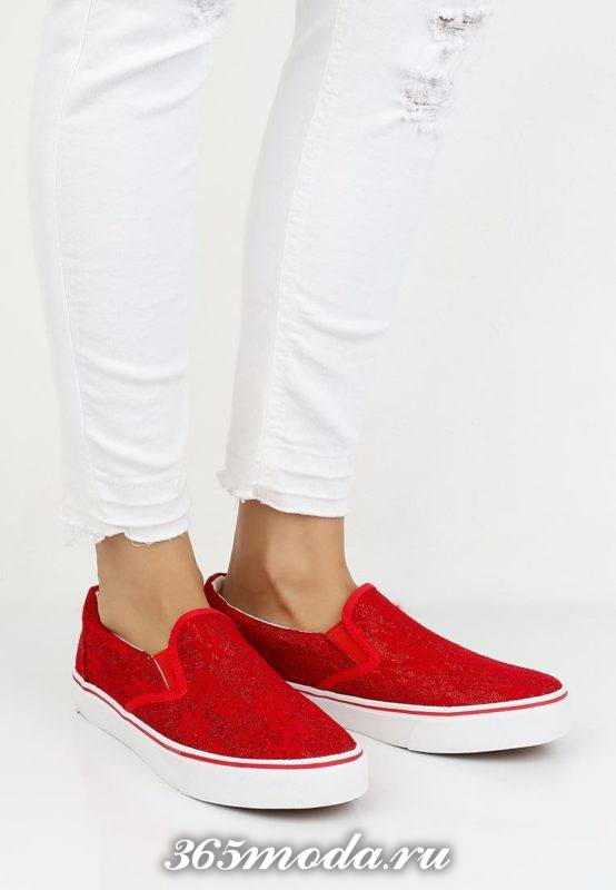 женские кружевные слипоны красные