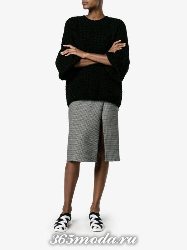 модные слипоны с серой юбкой