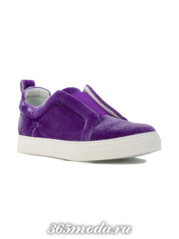 модные женские слипоны бархатные фиолетовые