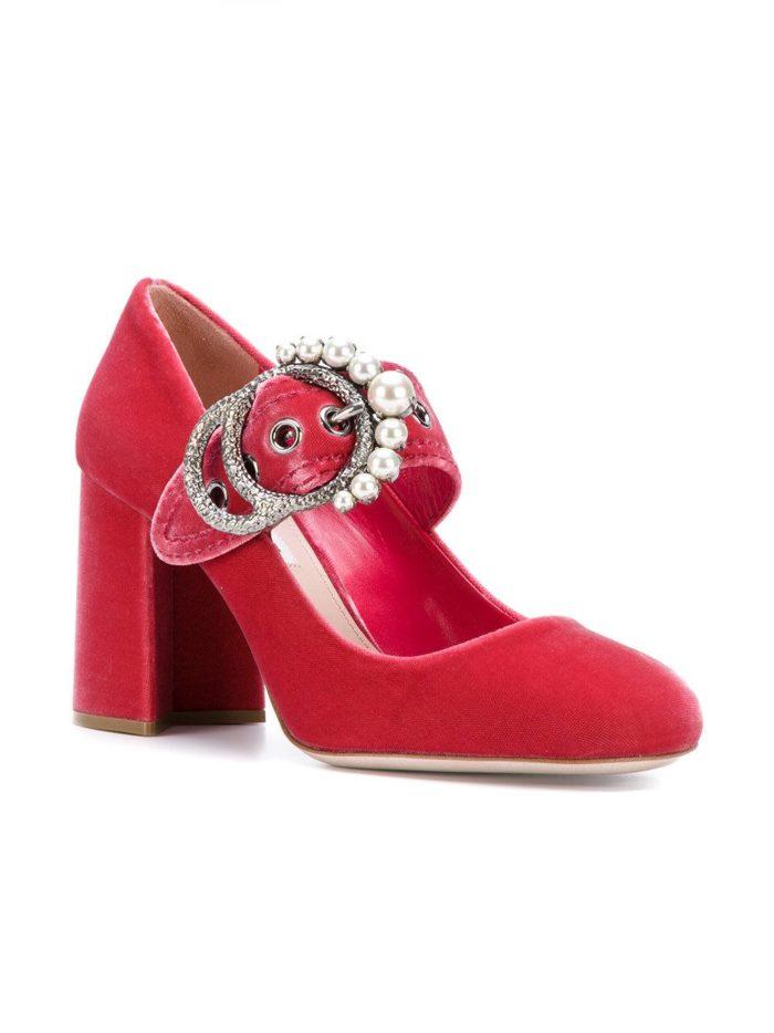 Женские туфли весна-лето 2020: красные на толстом каблуке
