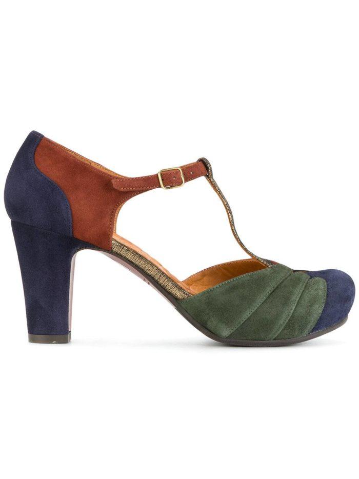 Женские туфли весна-лето 2020: разноцветные на толстом каблуке