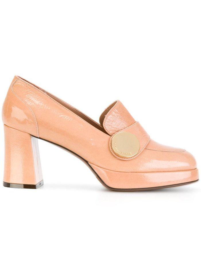 Женские туфли весна-лето 2020: пудровые на толстом каблуке