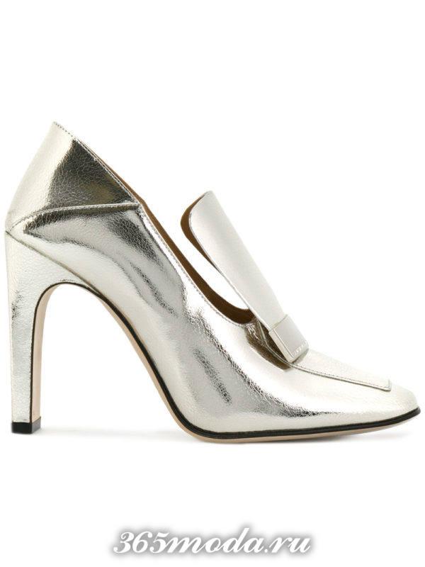 туфли на толстом каблуке металлик