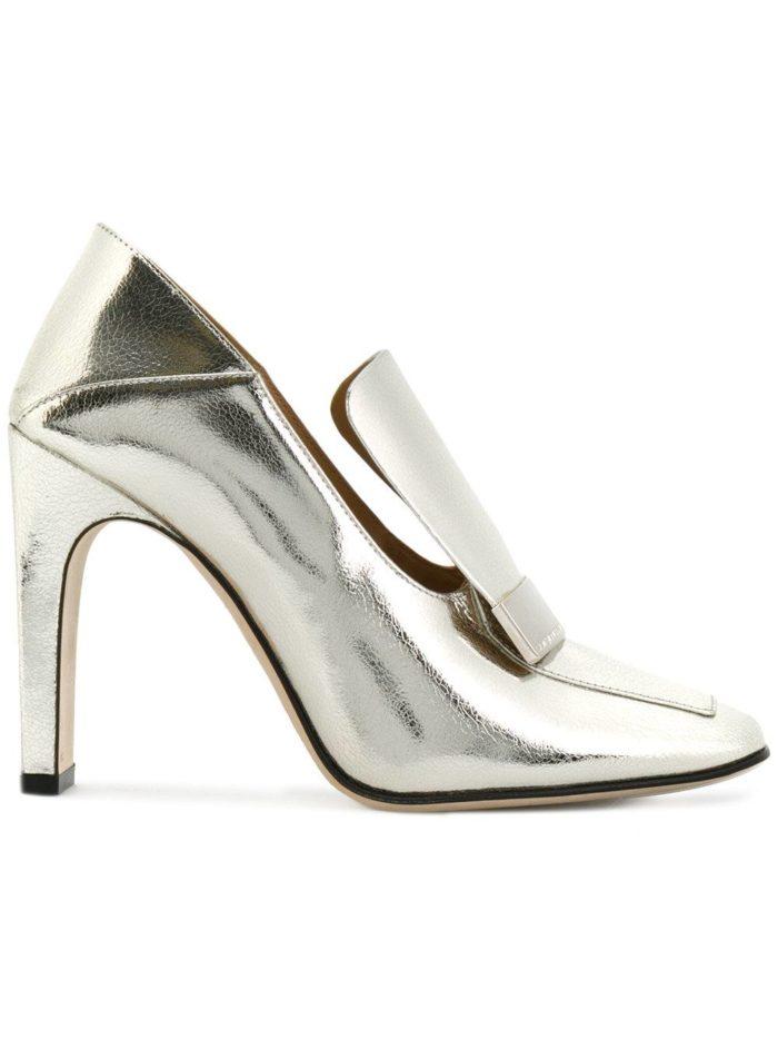 Женские туфли весна-лето 2020: на толстом каблуке металлик