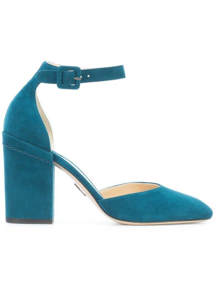 Женские туфли весна-лето 2020: синие на толстом каблуке