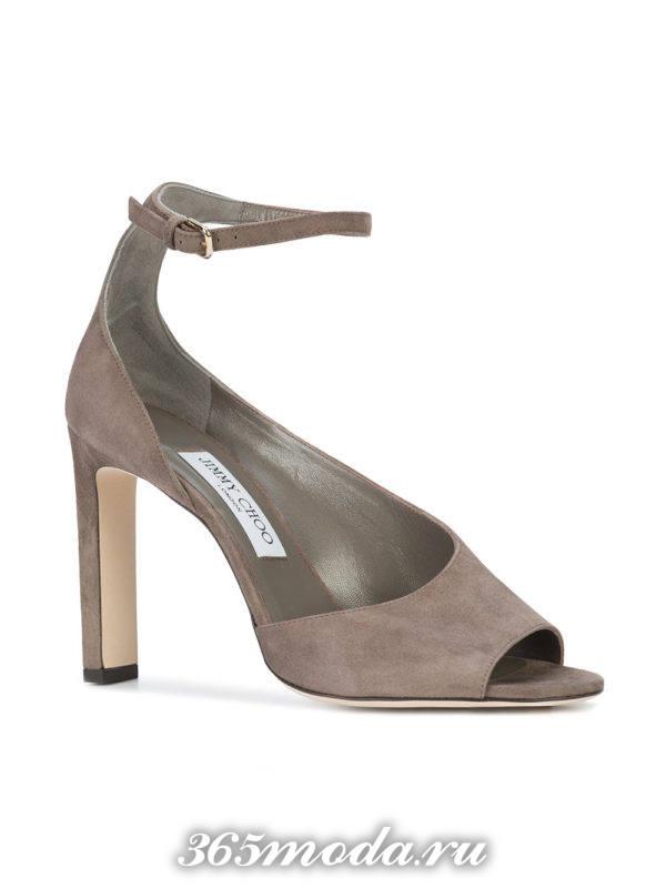 туфли с открытым носком серые