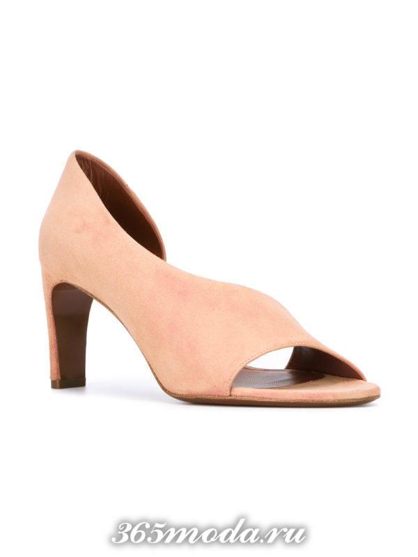 туфли с открытым носком розовые