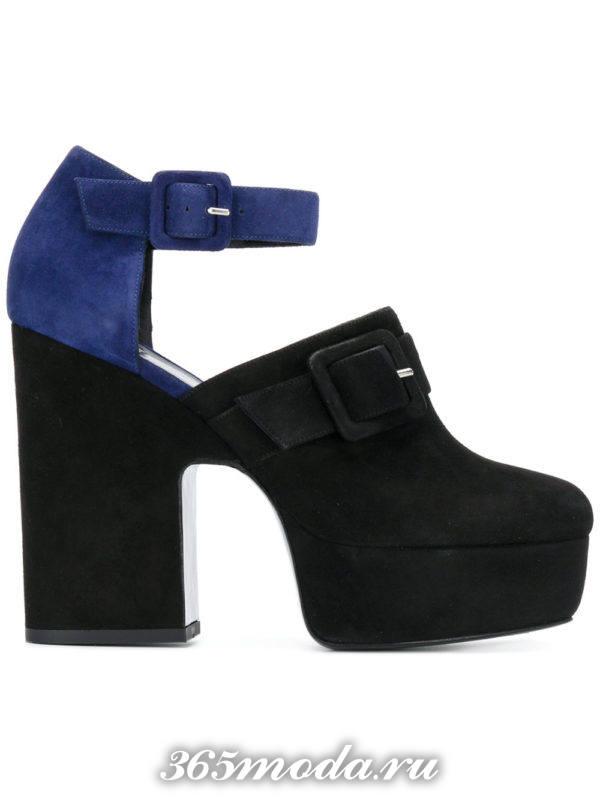 двухцветные туфли на платформе