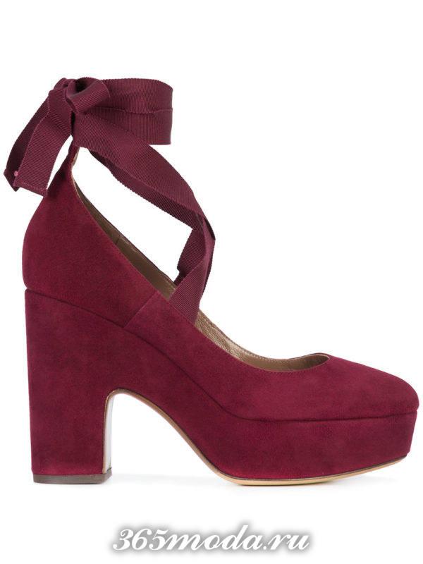 бордовые туфли на платформе