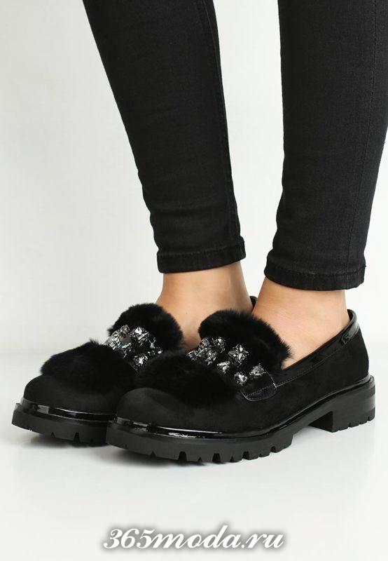 туфли на траекторной подошве с мехом