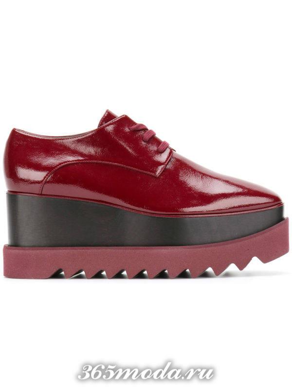 туфли на траекторной подошве красные