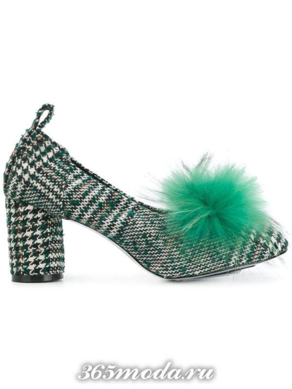 туфли на толстом каблуке с мехом