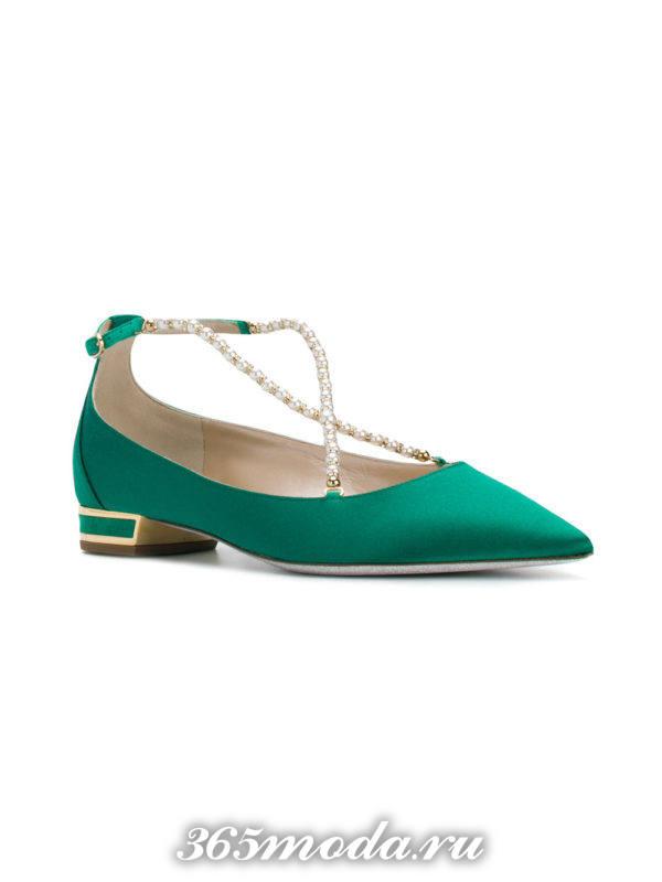 туфли на низком ходу зеленые