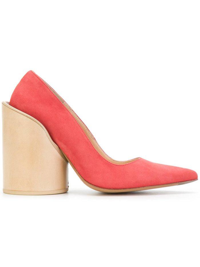 Женские туфли весна-лето 2020: алые на толстом каблуке