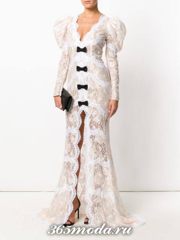выпускное белое кружевное платье с декором