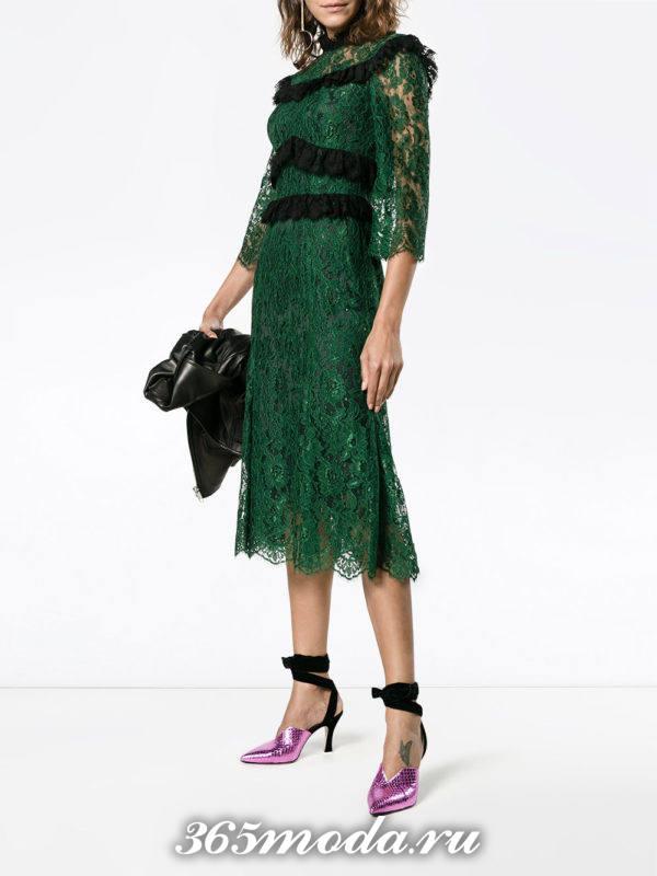 выпускное зеленое кружевное платье миди
