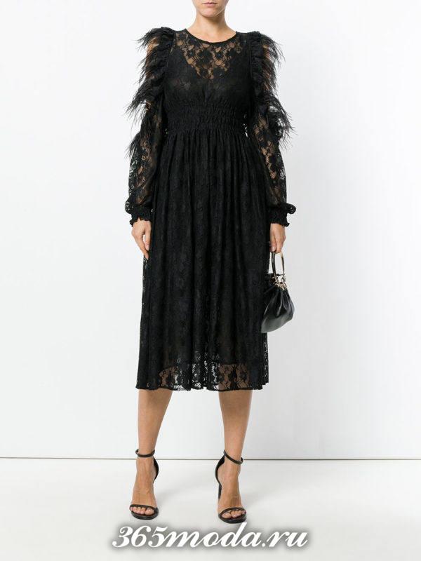 выпускное черное кружевное платье миди
