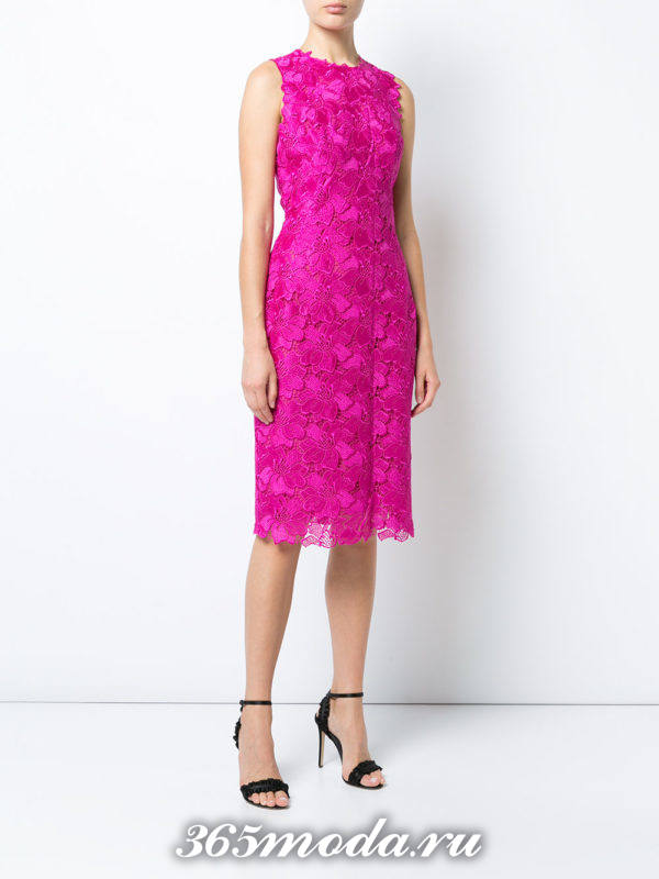 выпускное кружевное розовое платье футляр