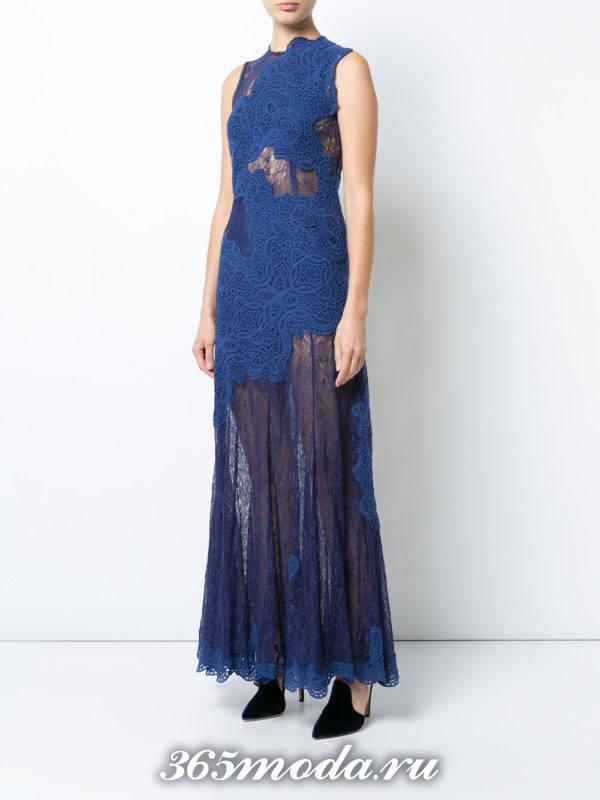 выпускное прозрачное длинное кружевное платье