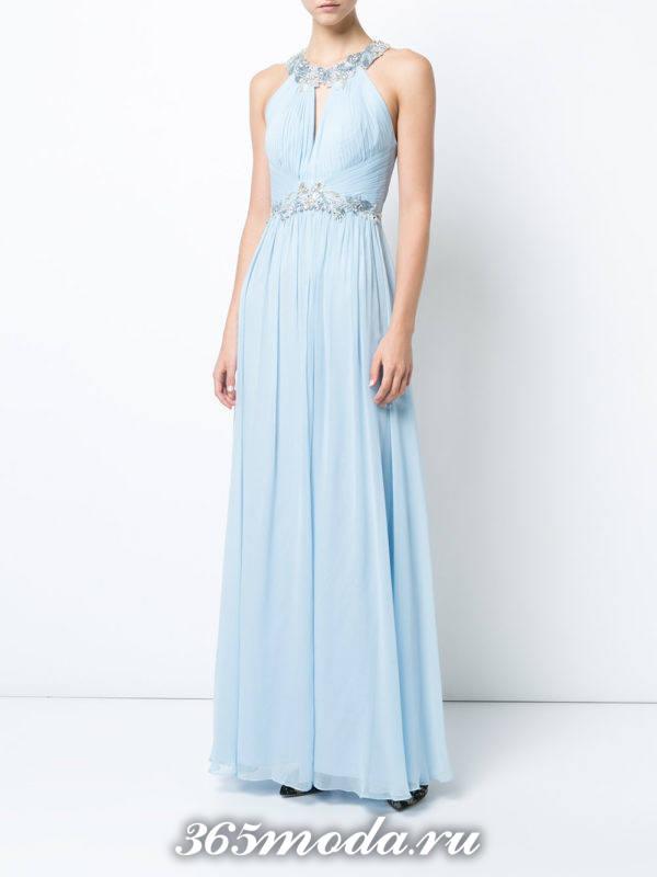 выпускное греческое голубое платье