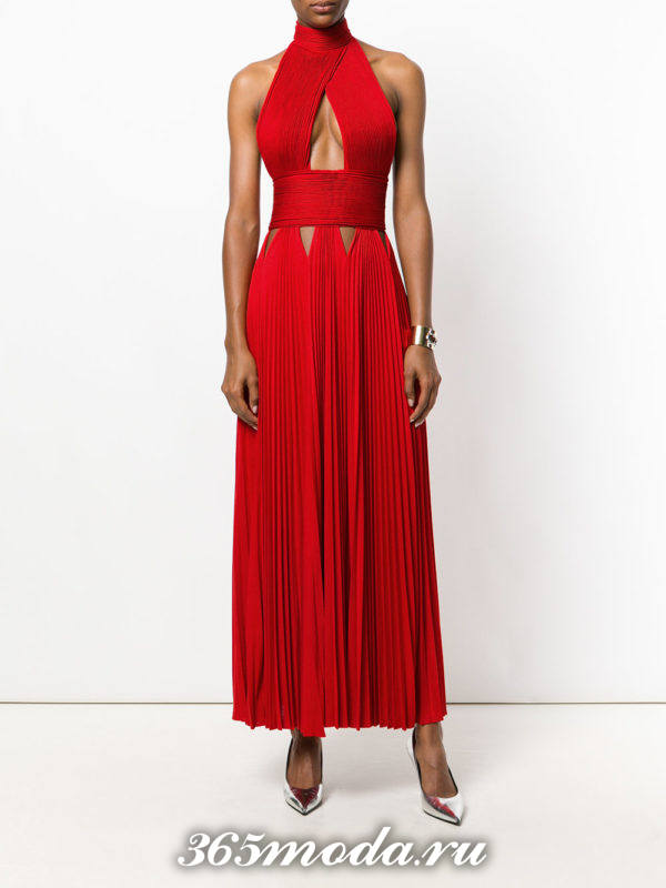 выпускное греческое красное платье под горло