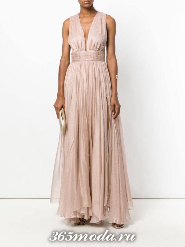 выпускное греческое нюдовое платье плиссе