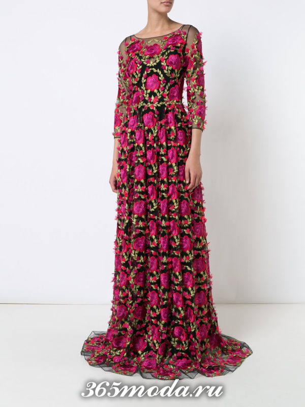 выпускное длинное платье с цветочным принтом