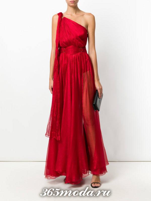 выпускное греческое красное платье на одно плечо