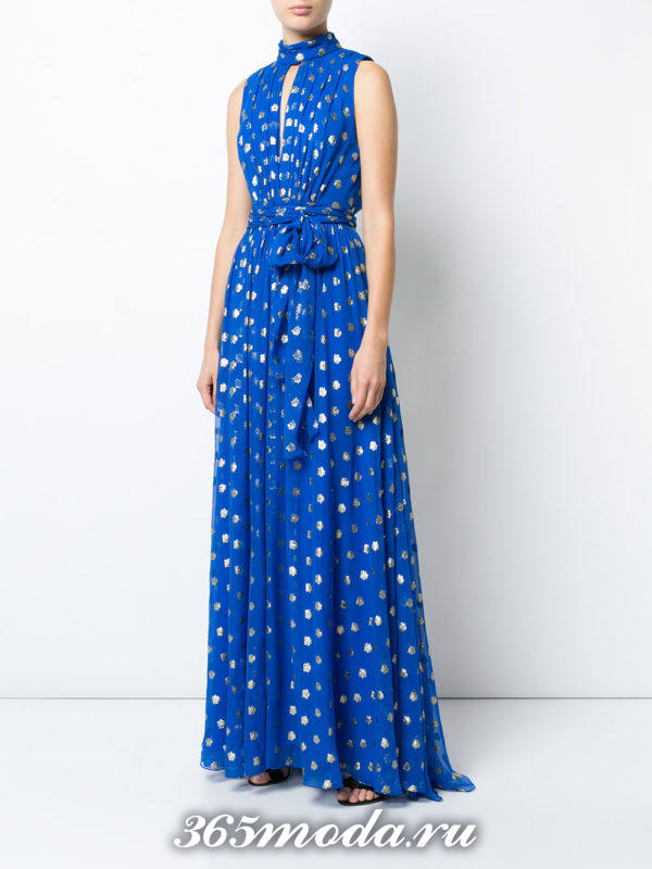 выпускное греческое синее платье в горох