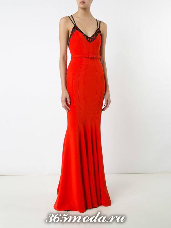 выпускное платье русалка красное на бретелях