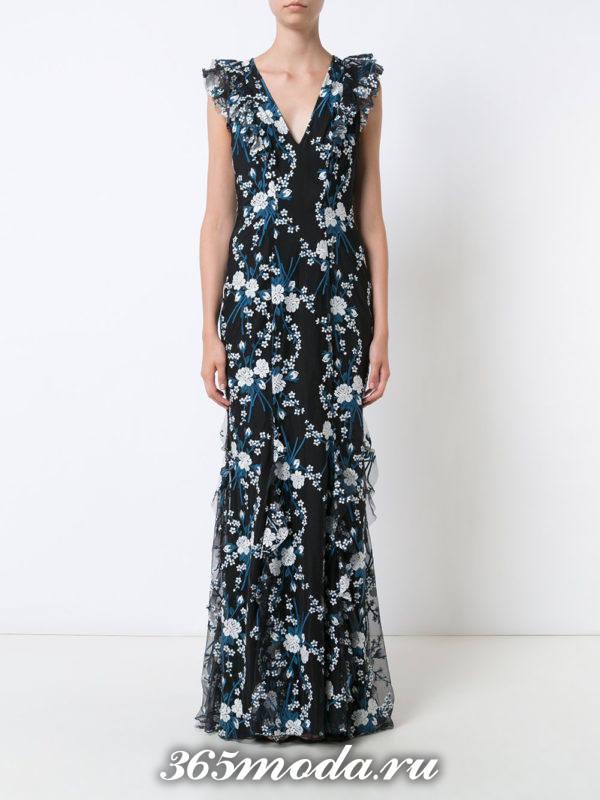 выпускное платье русалка темное с принтом