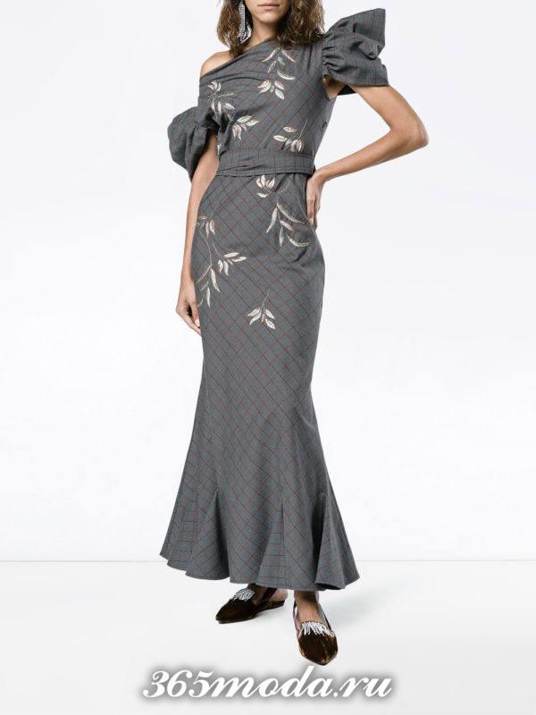 выпускное платье русалка серое с декором