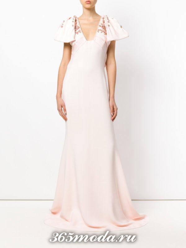 выпускное платье русалка белое длинное