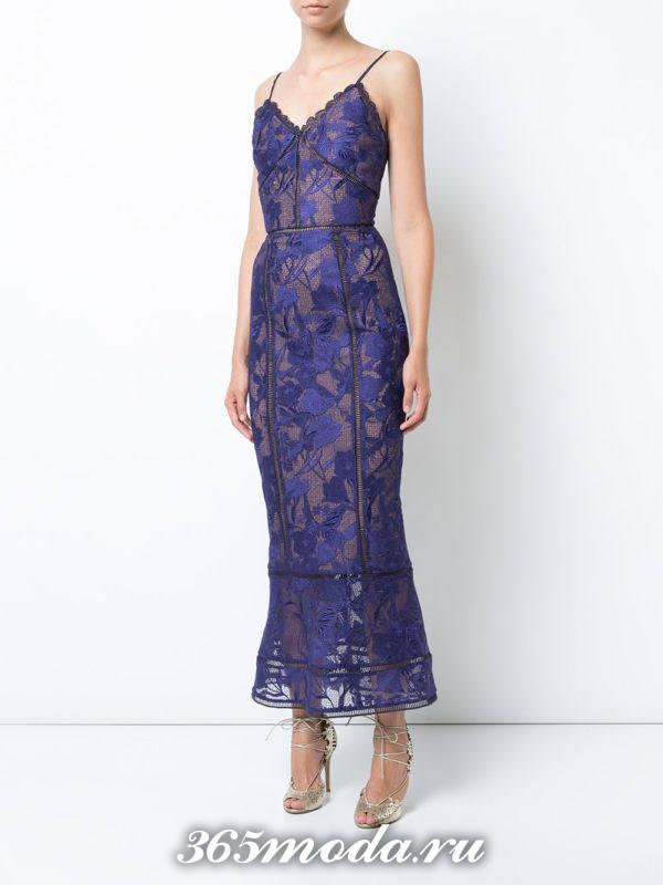 выпускное синее платье годе с цветочным принтом