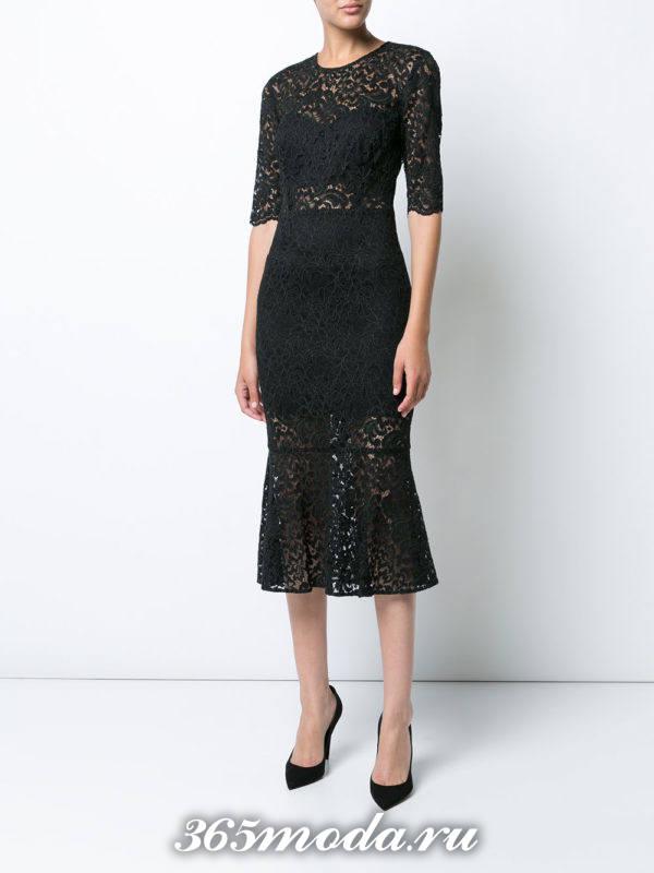 выпускное платье русалка черное короткое