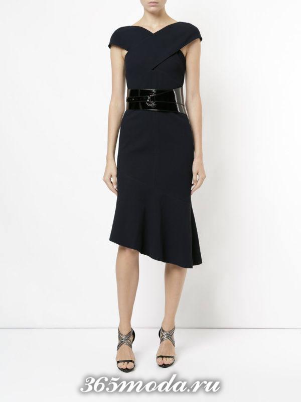 выпускное платье русалка черное с поясом