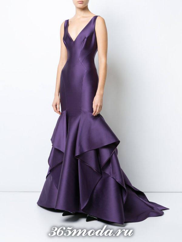 выпускное платье русалка фиолетовое с воланами