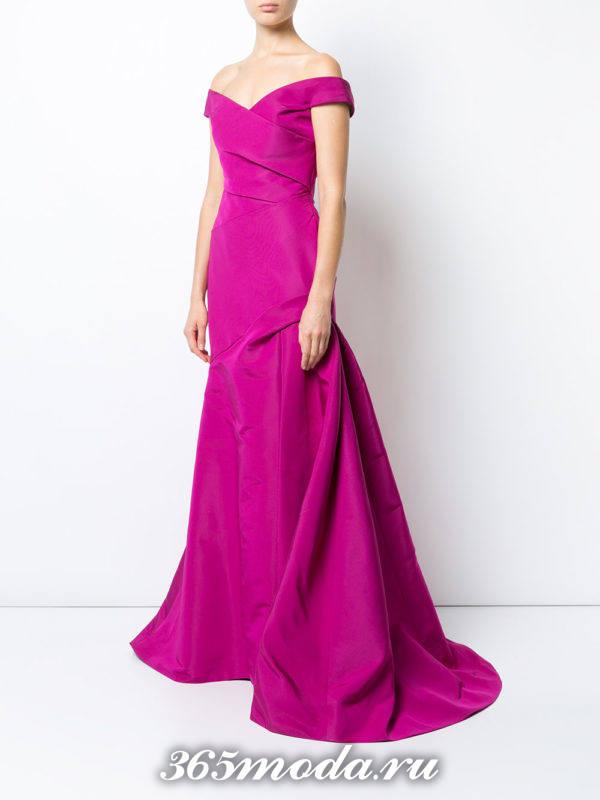 выпускное платье русалка длинное фуксия