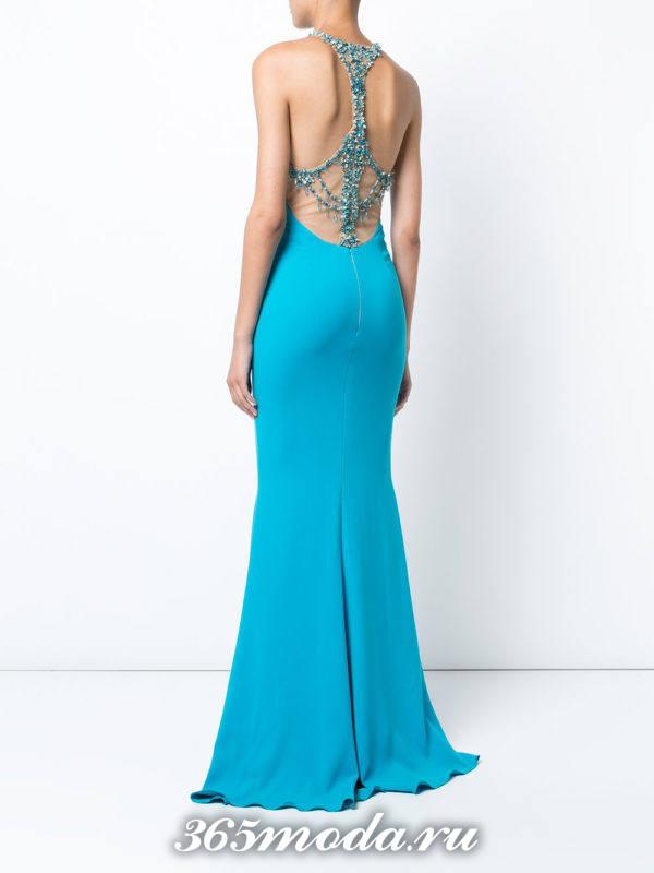 выпускные платье с открытой спиной голубое