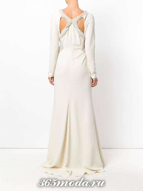 выпускные платье с открытой спиной белое