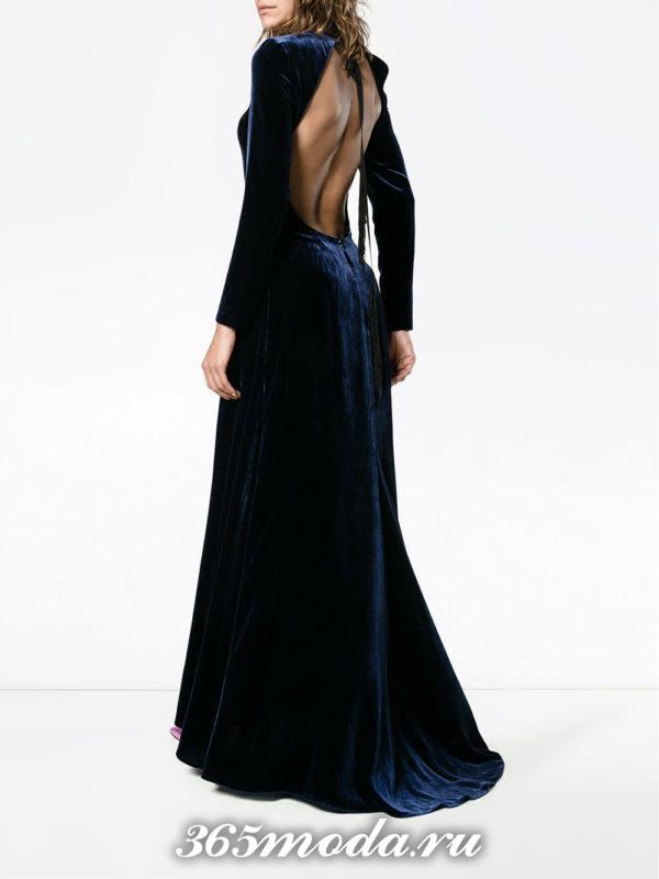 выпускные платье с открытой спиной бархатное синее