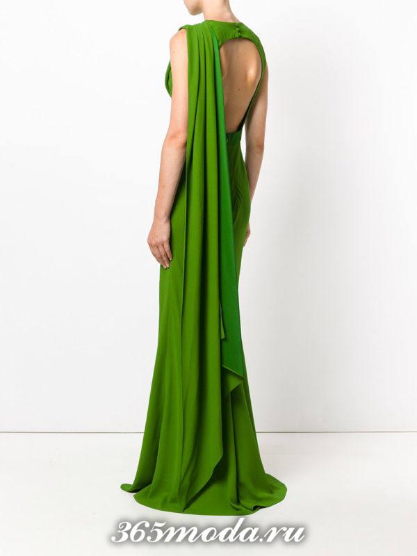 выпускные платье с открытой спиной зеленое с декором