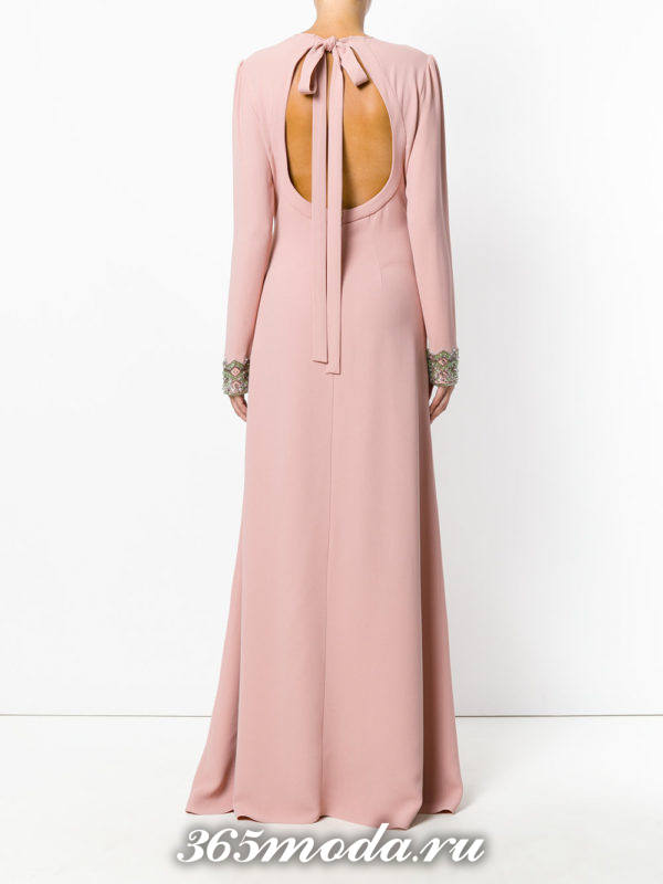 выпускные платье с открытой спиной розовое длинное