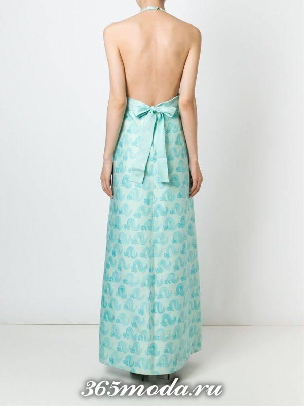 выпускные платье с открытой спиной голубое с принтом