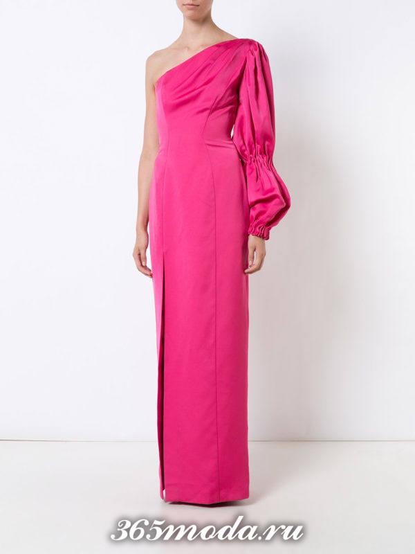 выпускное длинное розовое асимметричное платье