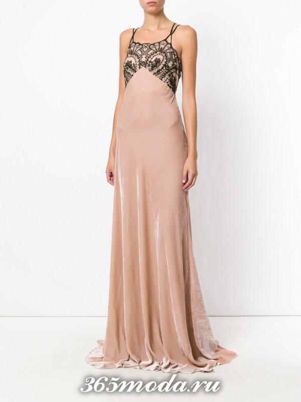 выпускное длинное нюдовое платье