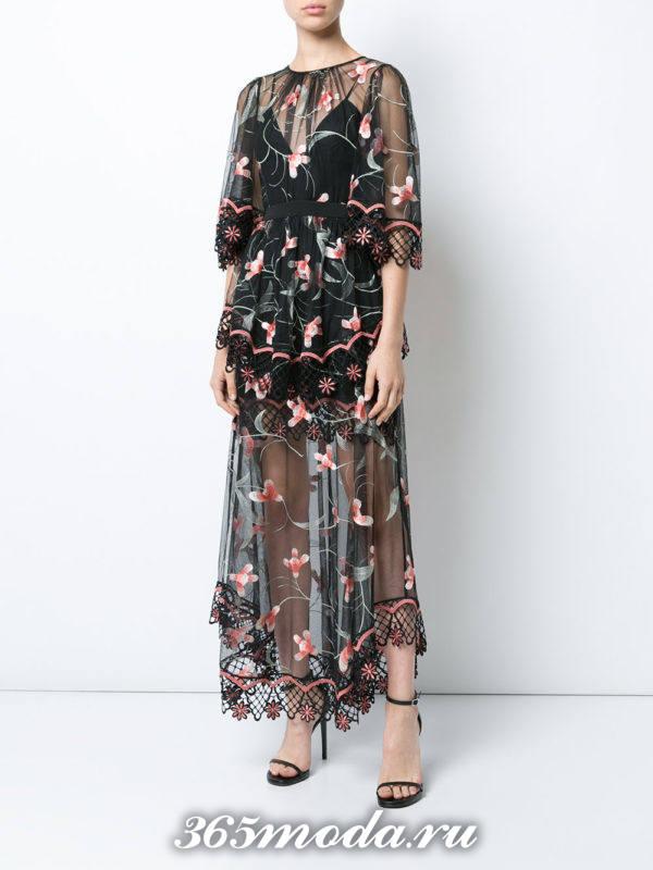 выпускное длинное прозрачное платье с принтом