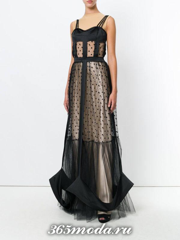 выпускное длинное двухцветное платье в горох