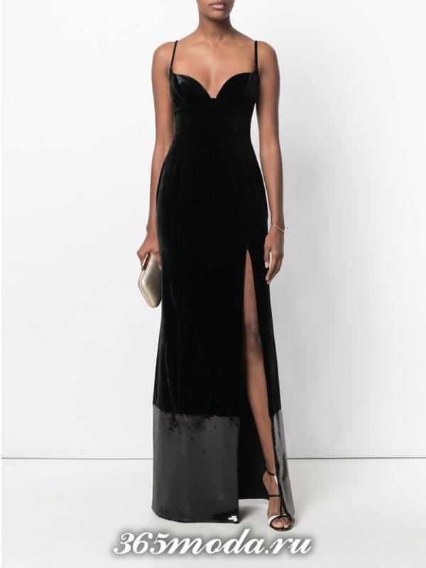 выпускное длинное черное бархатное платье